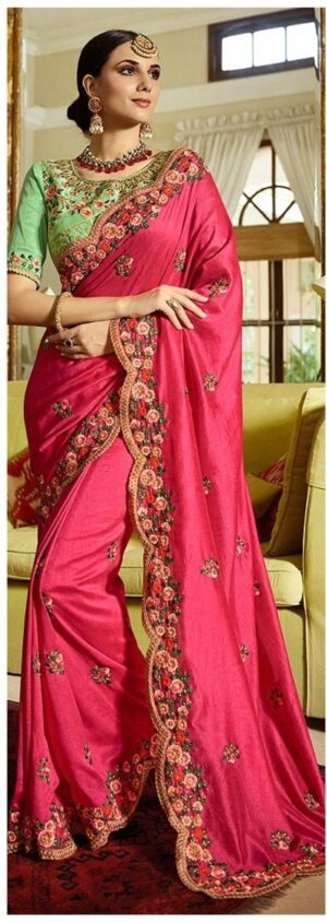 Surprising Pink Colored Sana Silk Embroidered Saree with silk Blouse