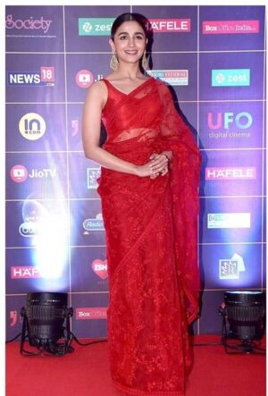 Stunning Red Colour Soft Net Embroidered Saree