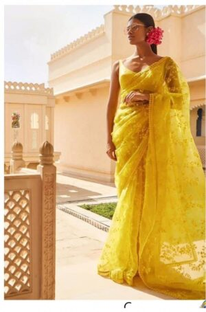 Startling Yellow Colored Soft Net Embroidered Saree And Bangoli Silk Blouse
