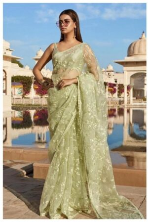 Stupefying Mehendi Green Colored Net Embroidered Saree And Banglori Silk Blouse