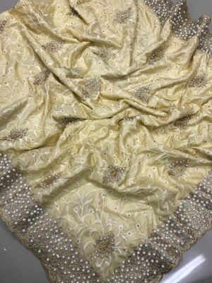 Breathtaking Golden Colored Silk Embroidered Saree And Sana Silk Blouse