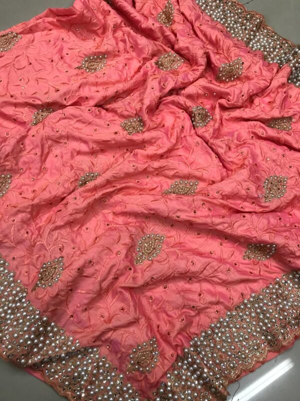 Confounding Peach Colored Sana Silk Embroidered Saree with Silk Blouse