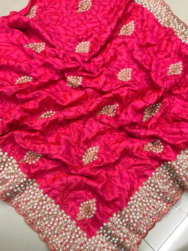 Dismaying Pink Colored Sana Silk Embroidered Saree