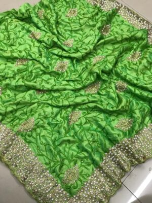 Disconcerting Green Colored Sana Silk Saree And Silk Unstitched Blouse