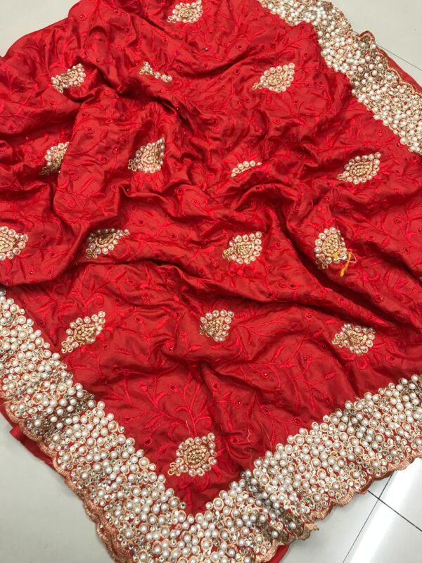 Awesome Red Colored Sana Silk Embroidered Saree