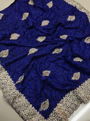Sensational Royal Blue Colored Sana Silk Embroidered Saree