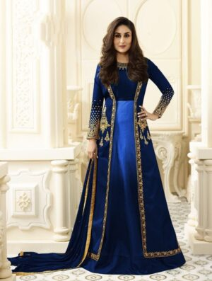 Remarkable Royal Blue Colored Georgette Embroidered Salwar Suit