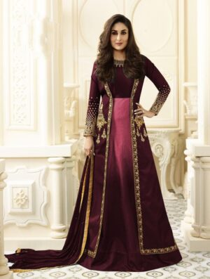 Spectacular Maroon Colored Georgette Embroidered Salwar Suit