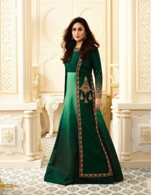 Stupendous Dark Green Colored Georgette Embroidered Multi Work Salwar Suit