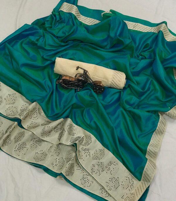 Extraordinary Rama Blue Colored Sana Silk Saree