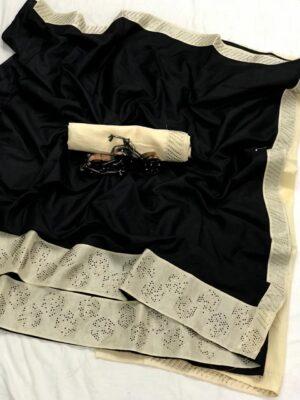 Incredible Black Colored Sana Pure Silk Stone Work Saree