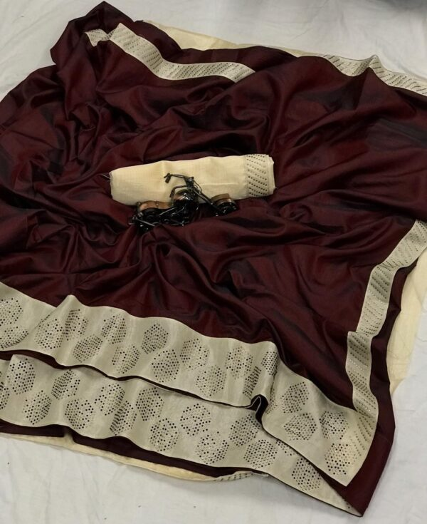 Unbelievable Chocolate Colored Sana Silk Diamond Work Saree