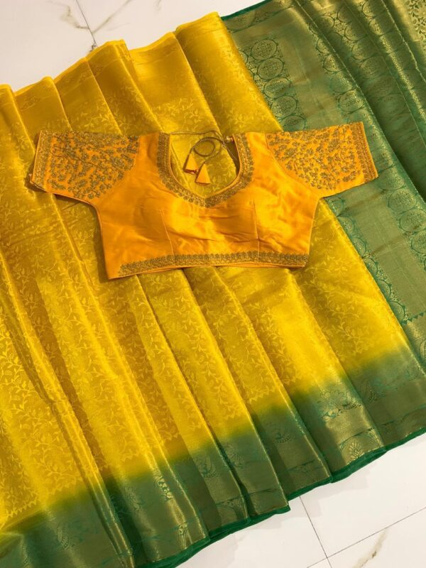 Wondrous Yellow & Green Nylon Silk Saree And Ready Made Blouse