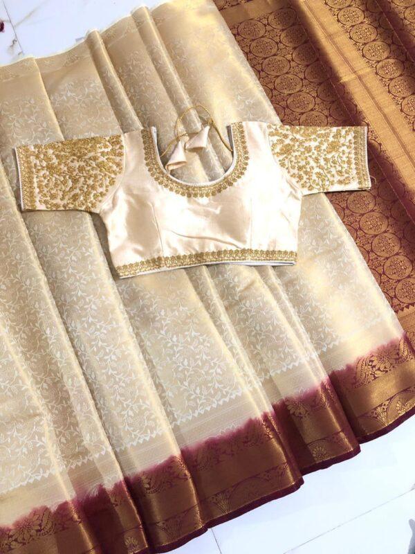 Wonderful Exotic Cream Colored Nylon Silk Saree & Ready Made Blouse