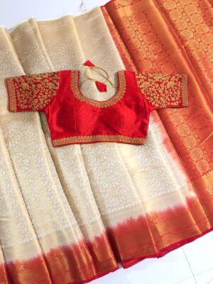 Marvellous Cream & Red Nylon Silk Saree & Ready Made Blouse