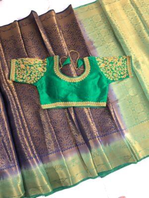 Startling Purple & Green Nylon Silk Saree & Ready Made Blouse