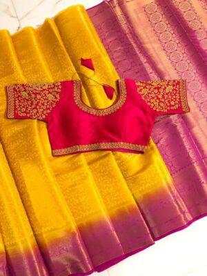 Disconcerting Yellow & Pink Nylon Silk Saree & Ready Made Blouse