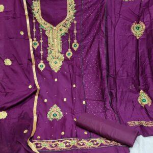 Sensational Purple Cotton Embroidered Diamond Work Salwar Suit