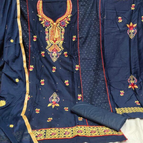 Remarkable Navy Blue Cotton Embroidered Diamond Work Salwar Suit