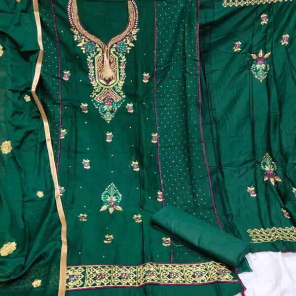 Spectacular Dark Green Cotton Embroidered Diamond Work Salwar Suit