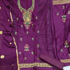 Stupendous Purple Cotton Embroidered Diamond Work Salwar Suit