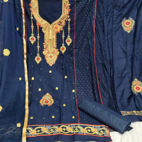 Prodigious Navy Blue Cotton Embroidered Diamond Work Salwar Suit