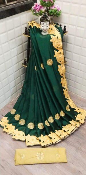 Amazeballs Dark Green Rangoli Two Tone Embroidered Diamond Work Saree