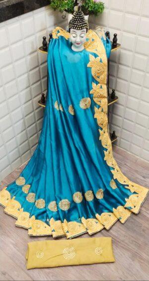 Wondrous Sky Blue Rangoli Two Tone Embroidered Diamond Work Saree