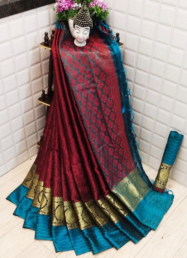 Breathtaking Maroon Glourious Colored Silk Saree With Blouse