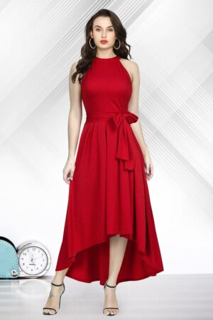 Disconcerting Red Colored Rayon Designer Ready Made One Piece
