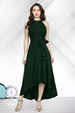 Shattering Green Colored Rayon Designer Ready Made One Piece
