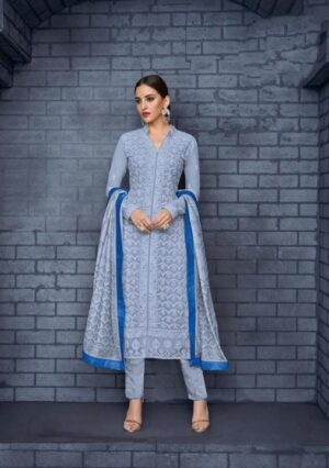 Awesome Grey & Blue Georgette With Embroidered Work Salwar Suit