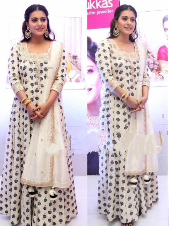 Remarkable Cream Colored Soft Silk With Digital Print Designer Gown