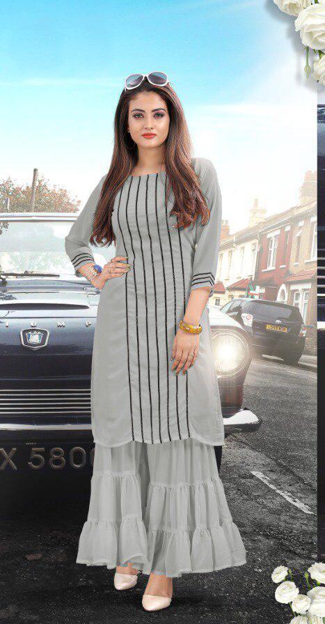 Astonishing Grey Colored Pure Georgette Sharara Kurti For Women