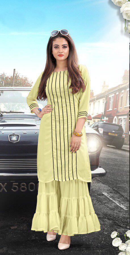 Phenomenal Yellow Colored Pure Georgette Sharara Kurti For Women