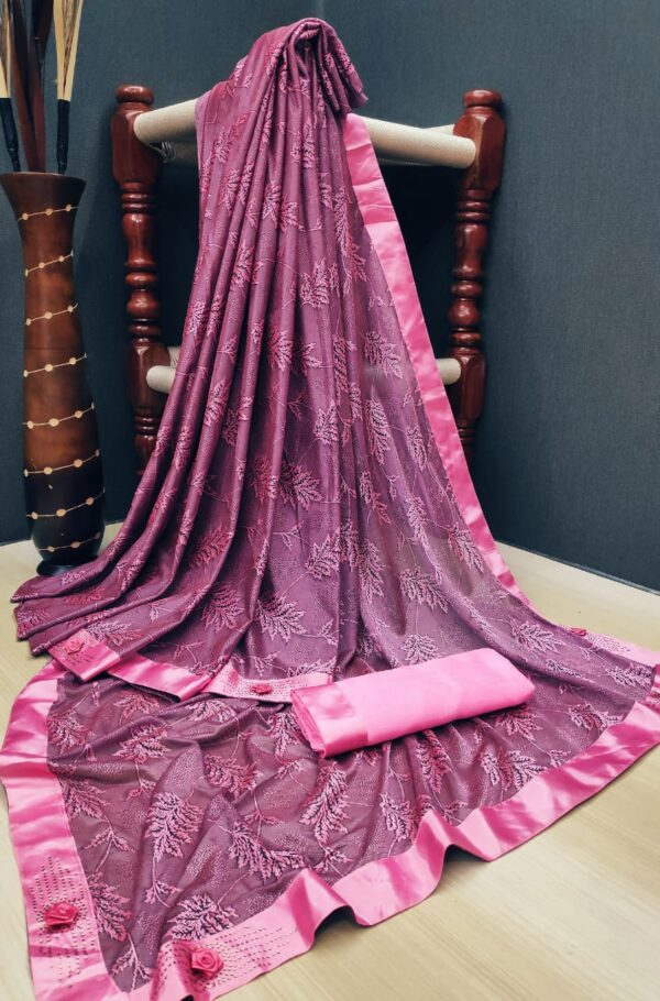 Breathtaking Wine Soft Lycra Saree With Fabulous Print All Over Saree