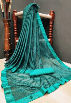 Mind-Boggling Rama Blue Colored Soft Lycra Saree With Fabulous Print All Over Saree