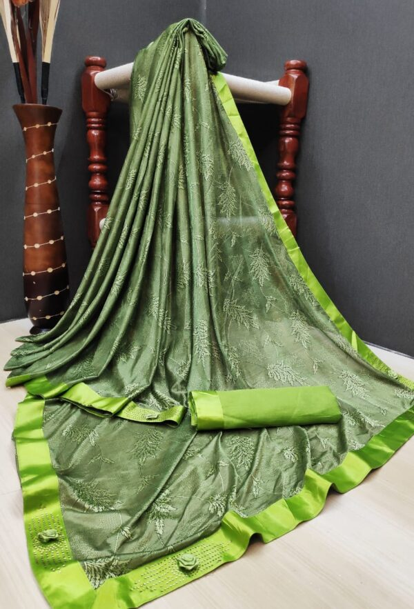 Mind-Blowing Green Colored Soft Lycra Saree With Fabulous Print All Over Saree