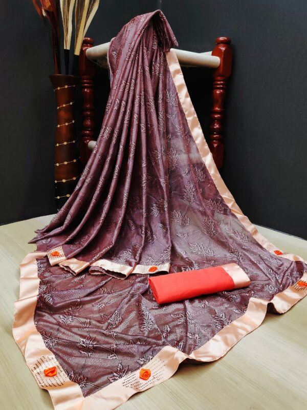 Fab Maroon Colored Soft Lycra Saree With Fabulous Print All Over Saree