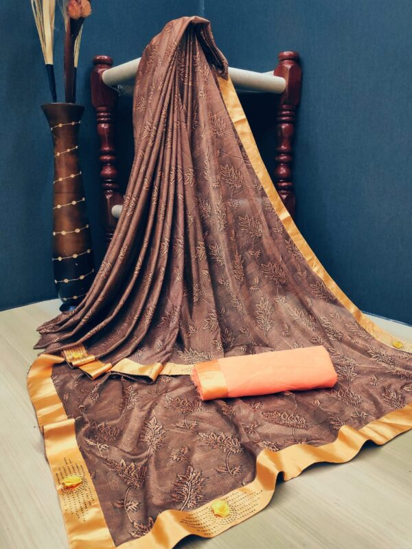 Super Brown Colored Soft Lycra Saree With Fabulous Print All Over Saree