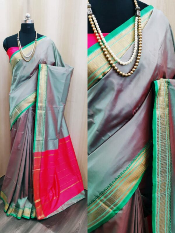 Good-Looking Grey Colored Soft Silk Two Tone Saree For Wedding Wear
