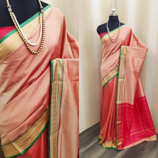 Comely Light Red Colored Soft Silk Two Tone Saree For Wedding Wear