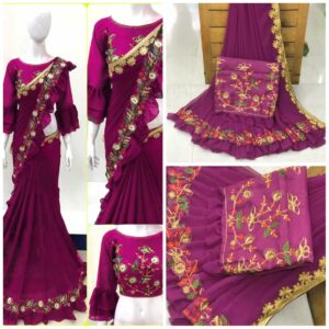 Sensational Wine Colored Georgette Saree With Work Border & Ruffel Party Wear