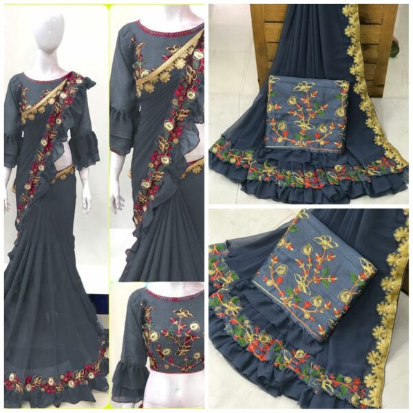 Radiant Grey Colored Georgette Saree With Work Border & Ruffel Party Wear