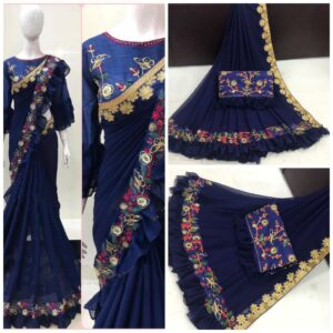 Striking Royal Blue Georgette Saree With Work Border & Ruffel Party Wear