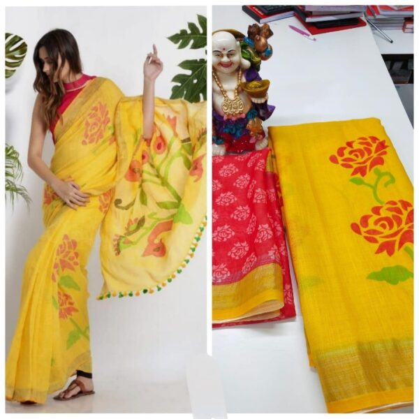 Alluring Yellow Linen With Digital Print Wedding Wear Saree