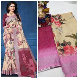 Exquisite Cream & Maroon Linen With Digital Print Wedding Wear Saree