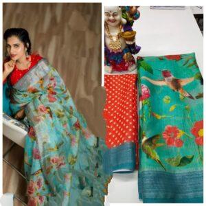 Amazeballs Rama Green Linen With Digital Print Wedding Wear Saree