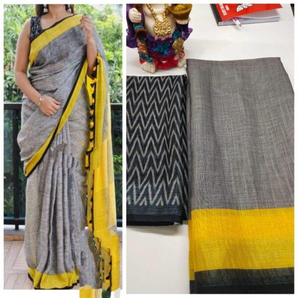 Knockout Grey & Yellow Linen With Digital Print Wedding Wear Saree