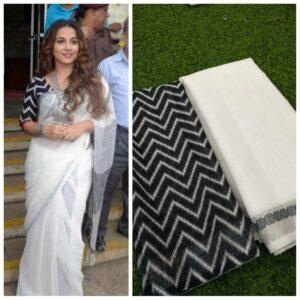 Beauteous Black & White Linen With Digital Print Wedding Wear Saree